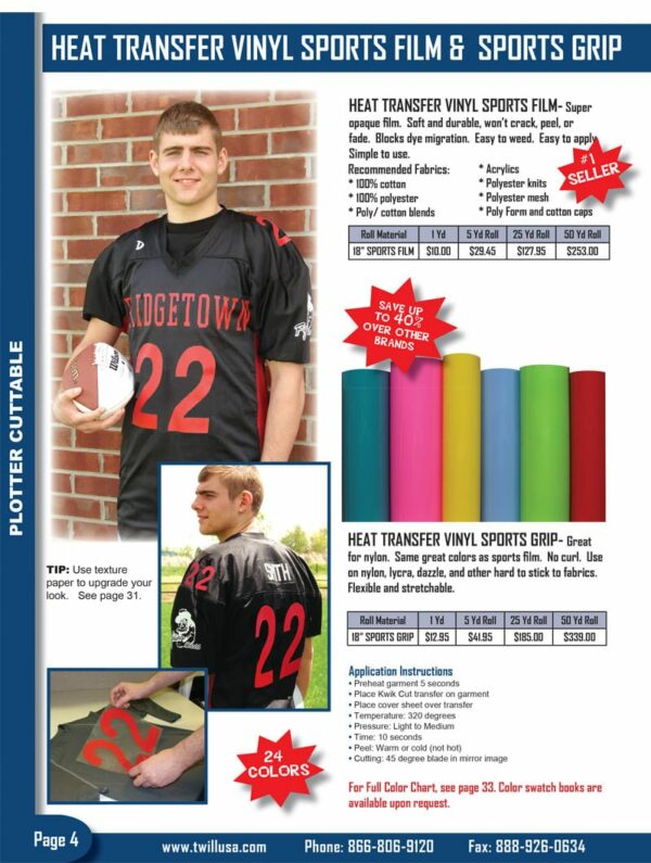 Image of Twill USA Product Catalog Page 4 HTV Vinyl Sports Film