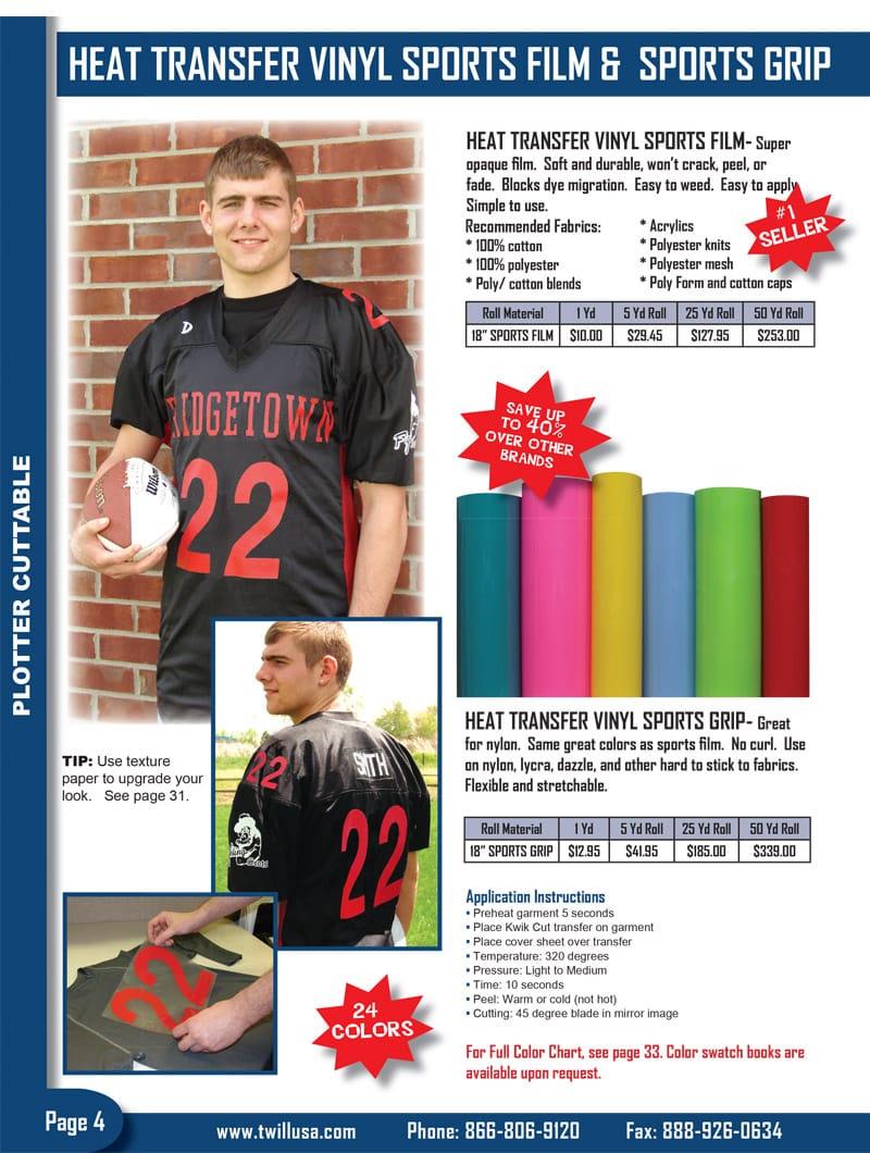 Image of Twill USA Product Catalog Page 4 -- Heat Transfer Vinyl Sports Film