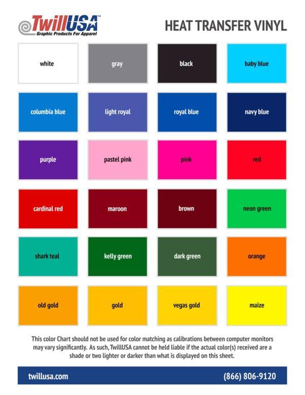 TwillUSA HTV Vinyl Color Chart