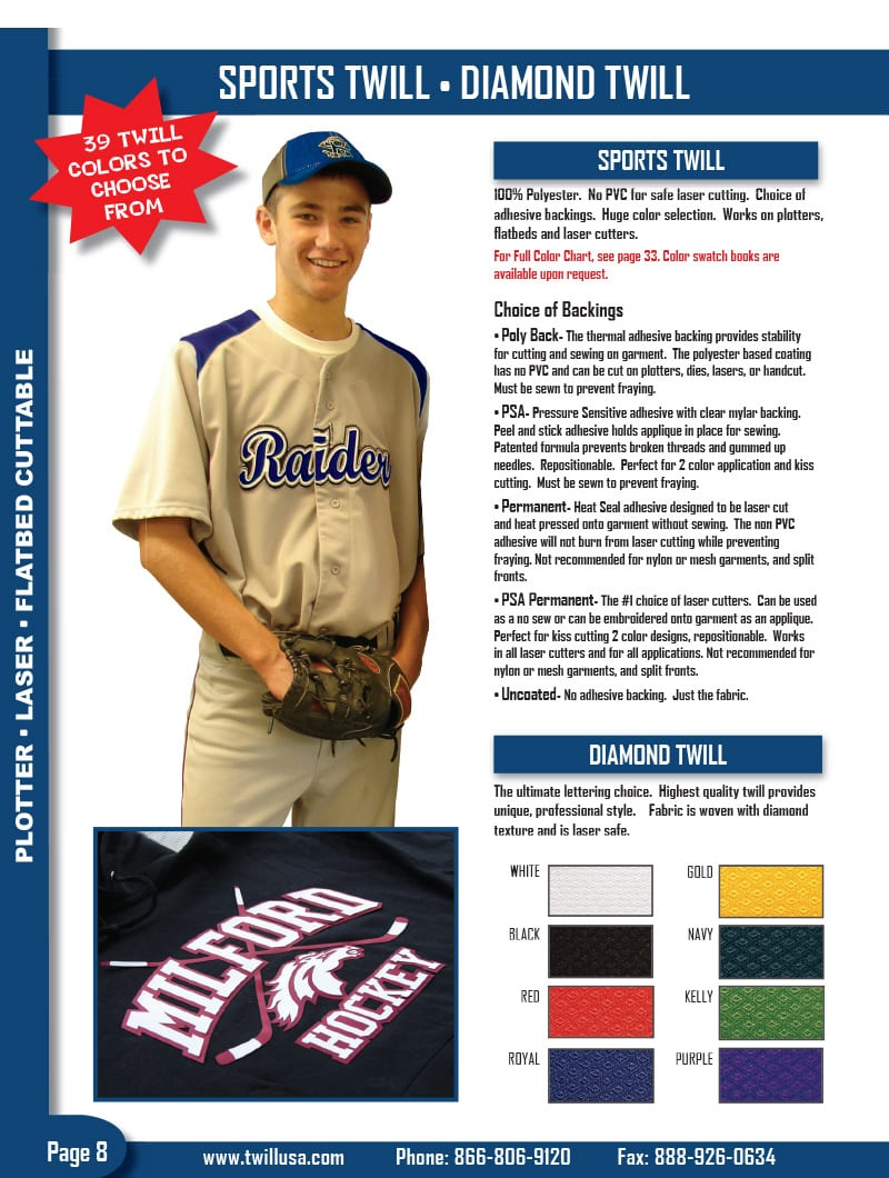 Image of TwillUSA Catalog Page 8 -- Sports Twill & Diamond Twill