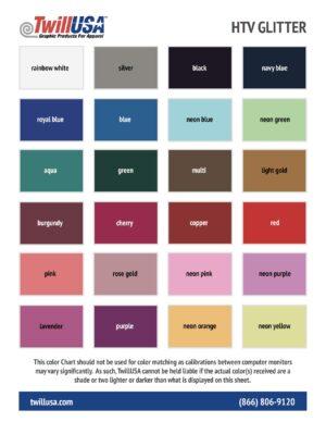 TwillUSA HTV Glitter Color Chart