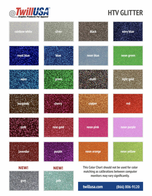 Image of HTV Glitter Color Chart