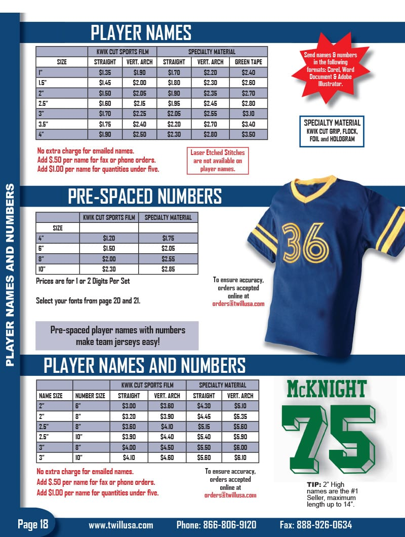 Image of TwillUSA Catalog Page 18 -- Player Names & Numbers