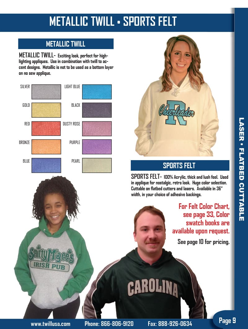 Image of TwillUSA Catalog Page 9 -- Metallic Twill & Sports Felt