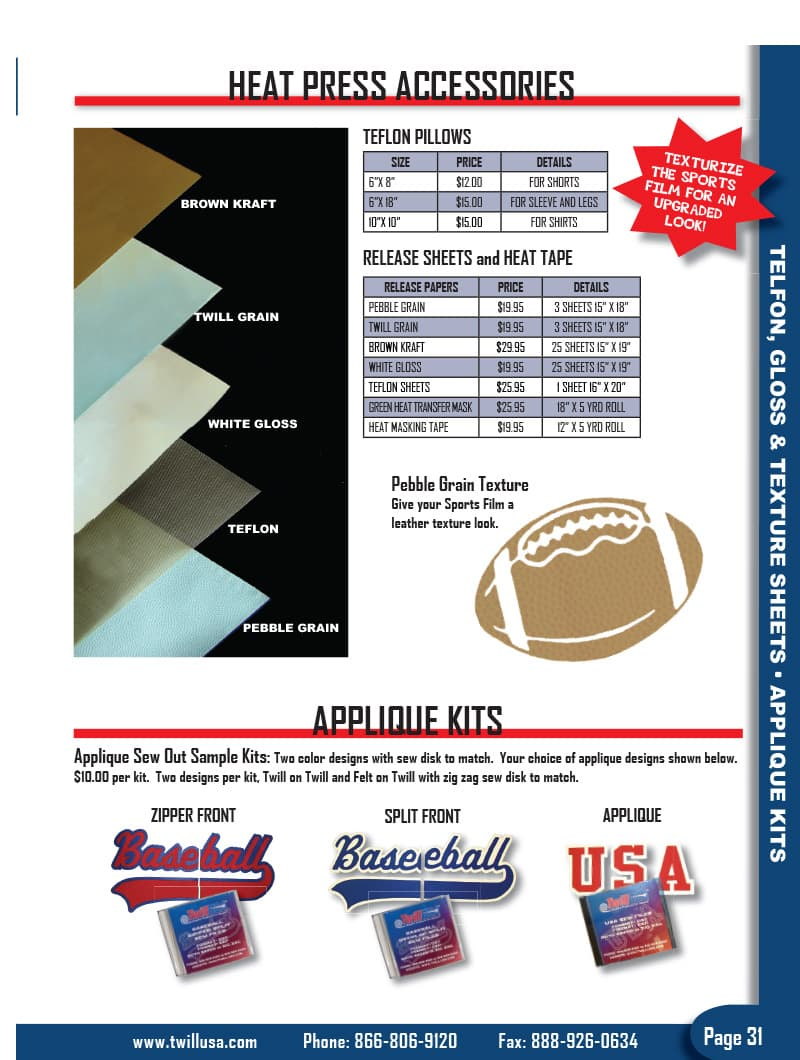 Image of TwillUSA Catalog Page 31 -- Heat Press Accessories
