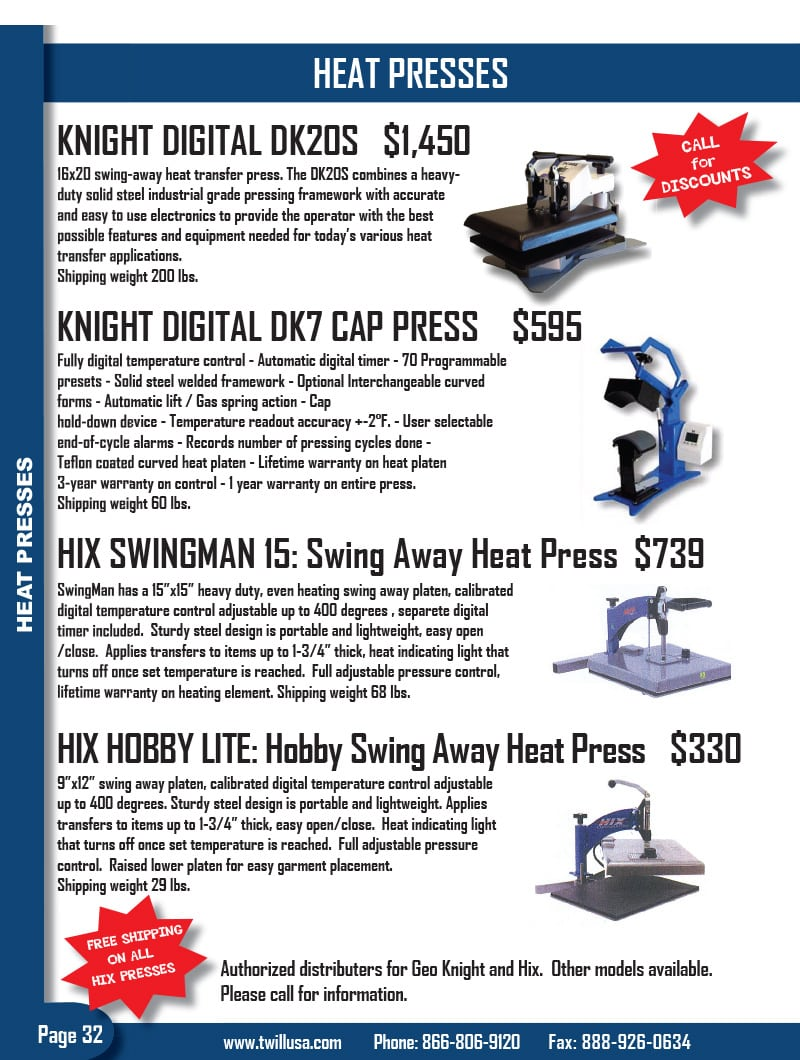Image of TwillUSA Catalog Page 32 -- Heat Press Machines