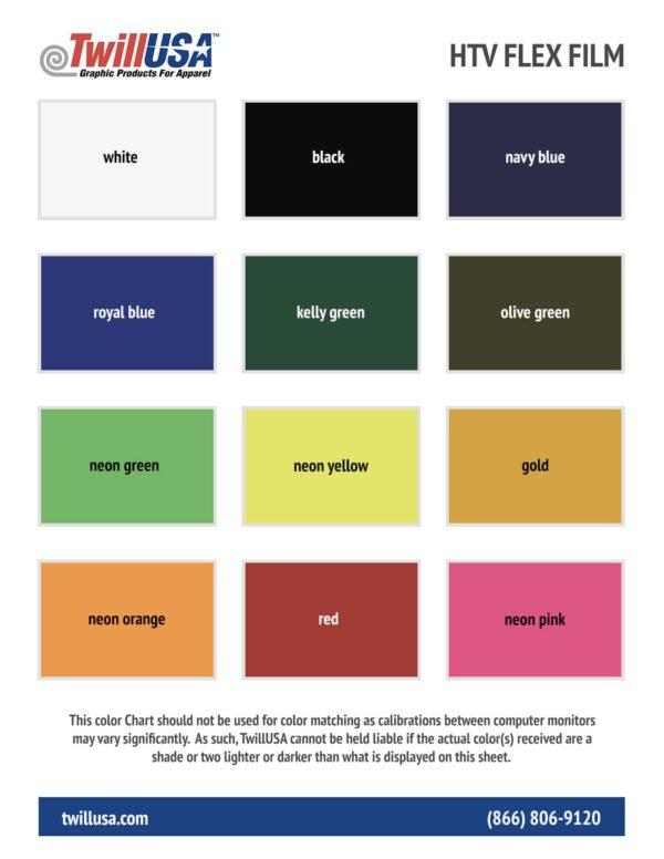 TwillUSA HTV Flex Film Color Chart