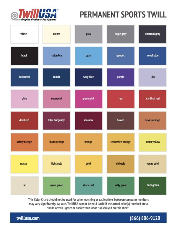 Permanent Tackle Twill Color Chart