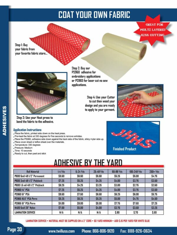 Image of Twill USA Product Catalog Page 30 Adhesive Rolls