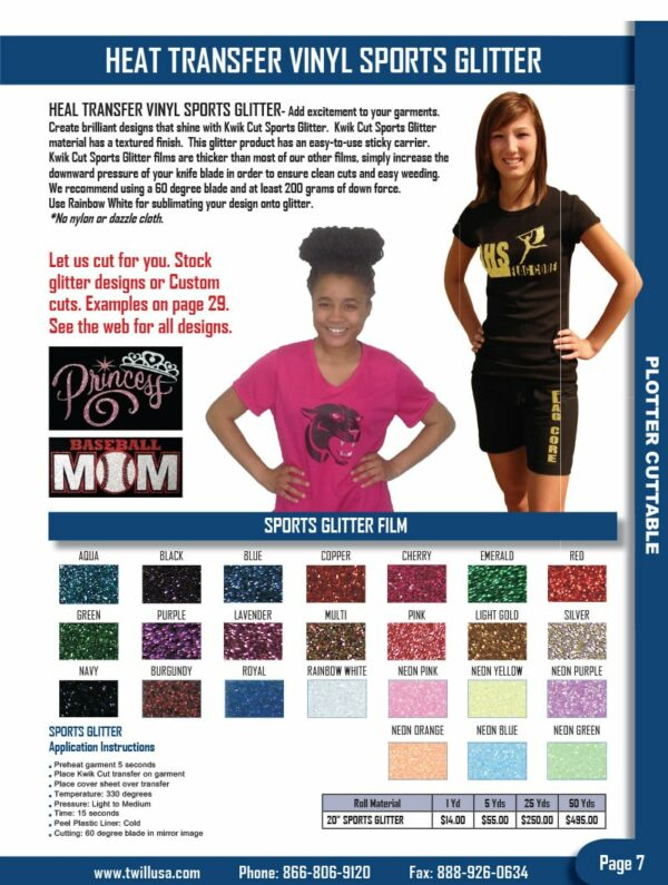 Image of Twill USA Product Catalog Page 7 HTV Vinyl Sports Glitter