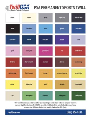 PSA Permanent Tackle Twill Color Chart