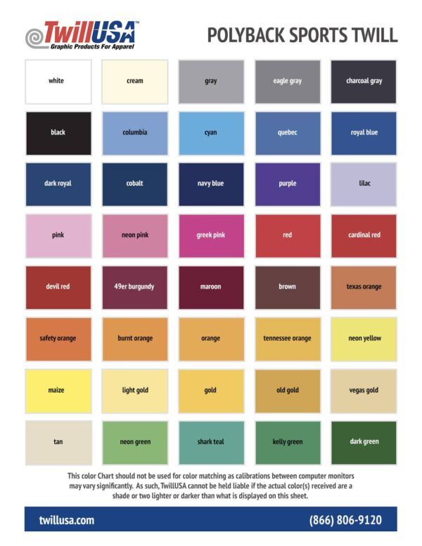 Polyback Tackle Twill Color Chart
