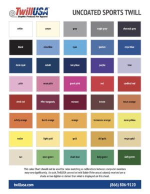 Uncoated Tackle Twill Color Chart