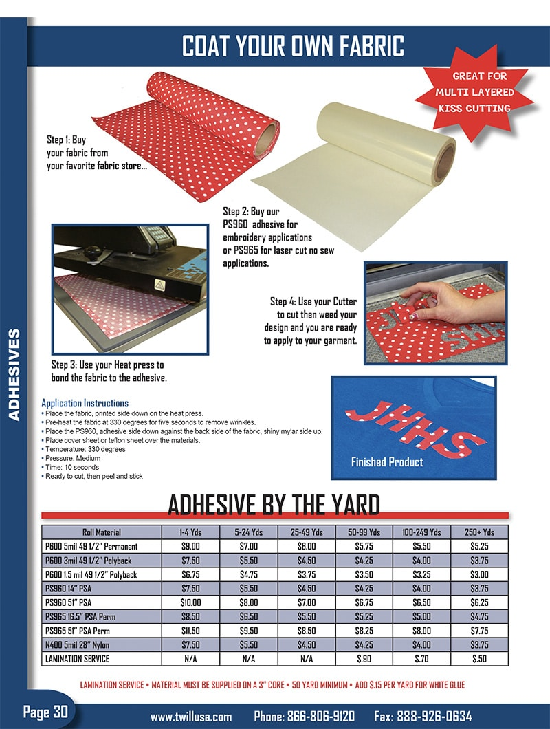 Image of TwillUSA Catalog Page 30 -- Heat Press Adhesive