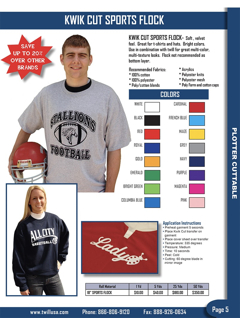 Image of TwillUSA Catalog Page 5 -- HTV Sports Flock