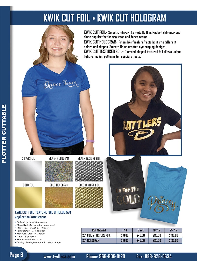 Image of TwillUSA Catalog Page 6 -- HTV Foil & Hologram