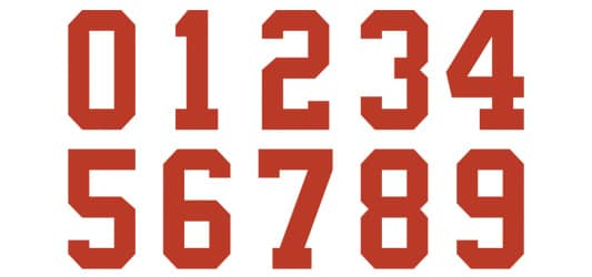 Image of Collegiate Numbers Typography Example