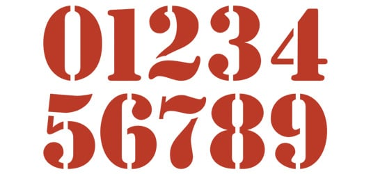 Image of Stamp Numbers Typography Example