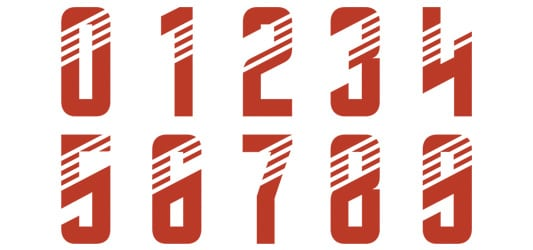 Image of Striped Numbers Typography Example