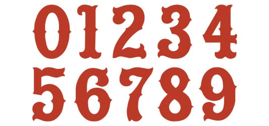 Image of Tiffany Numbers Typography Example