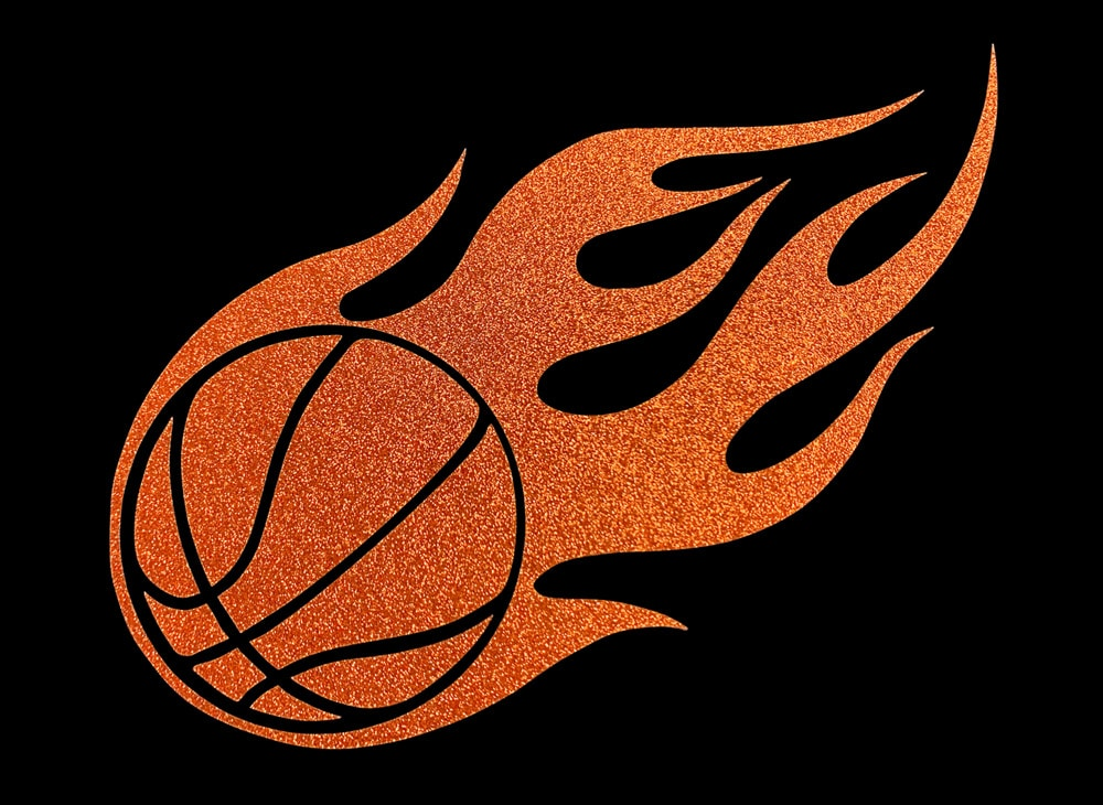 Image of Flaming Basketball HTV Glitter Design By TwillUSA