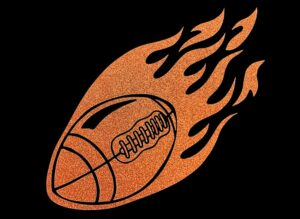 Image of Flaming Football HTV Glitter Design By TwillUSA