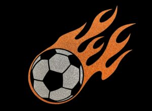Image of Flaming Soccer Ball HTV Glitter Design By TwillUSA