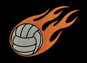 Image of Flaming Volleyball HTV Glitter Design By TwillUSA