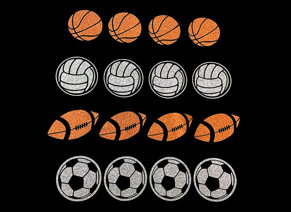 Image of Sports Balls HTV Glitter Design By TwillUSA