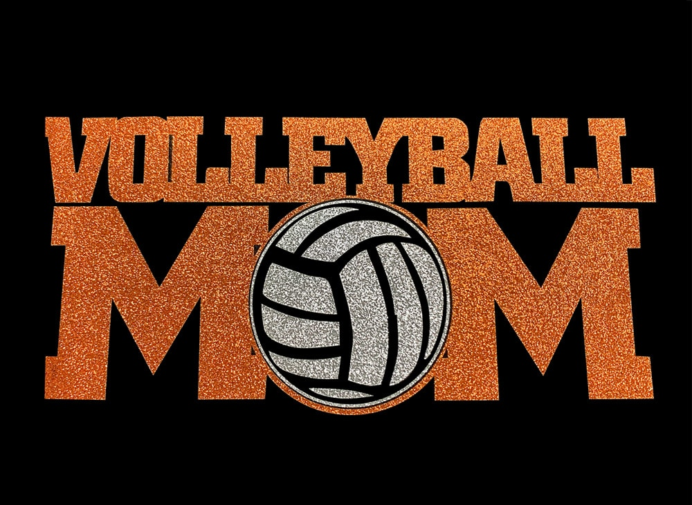 Image of Volleyball Mom PreCut HTV Glitter Design
