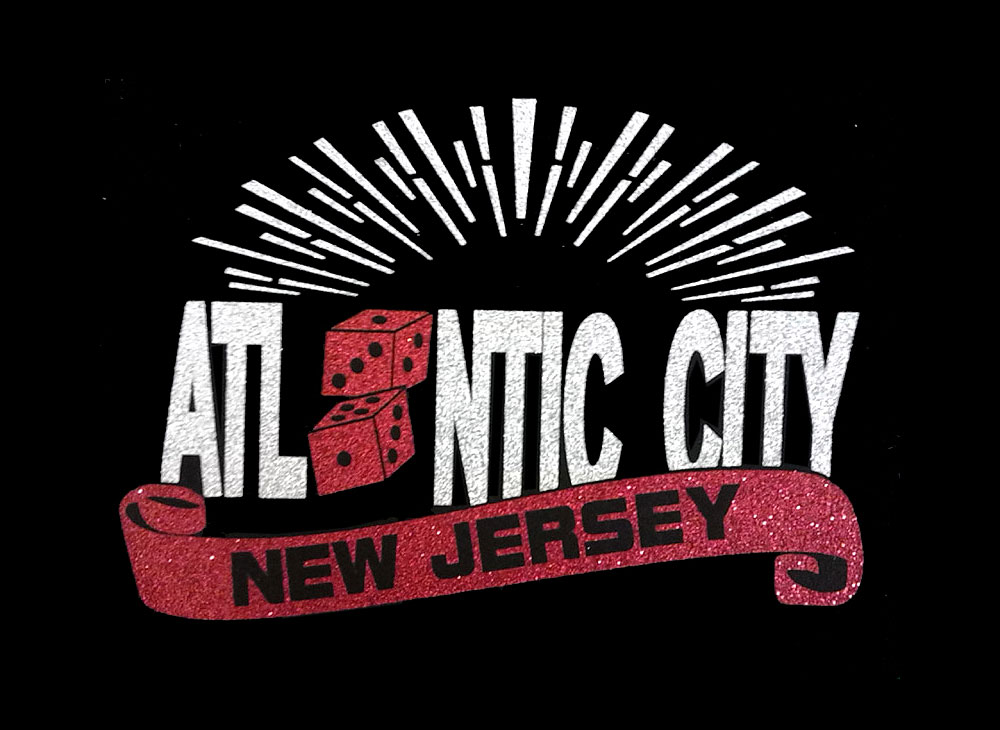 Image of Atlantic City PreCut HTV Glitter Design