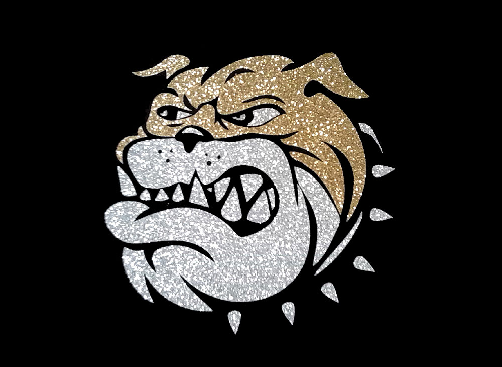 Image of Bulldog PreCut HTV Glitter Design