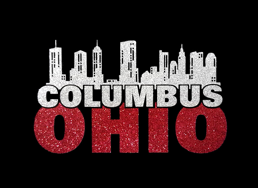 Image of Columbus Ohio PreCut HTV Glitter Design