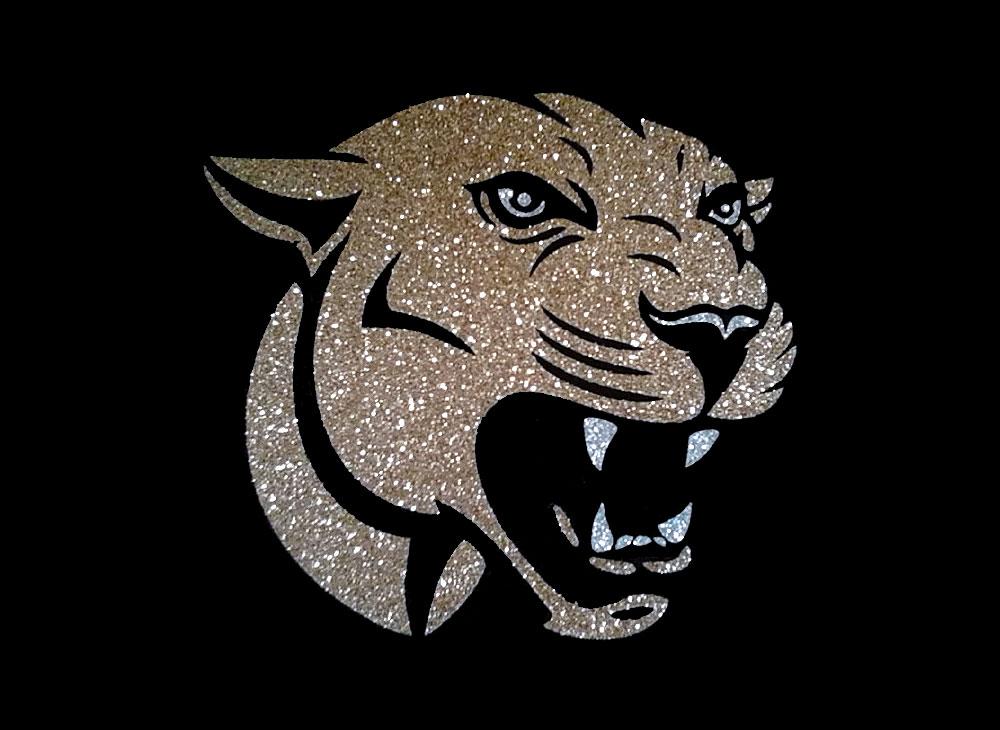 Image of Cougar PreCut HTV Glitter Design