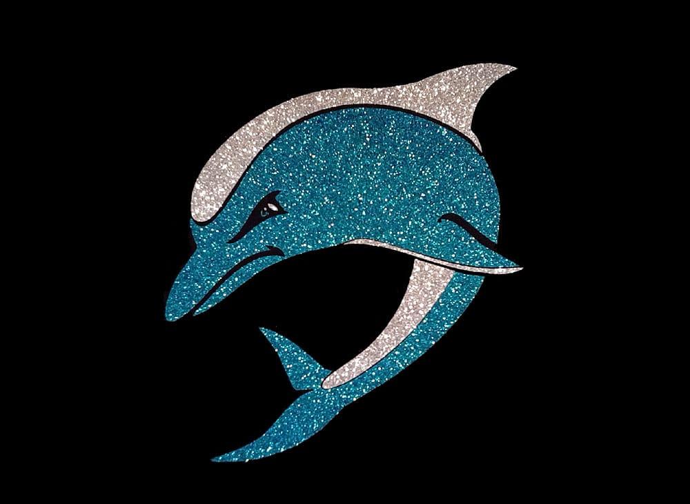 Image of Dolphin PreCut HTV Glitter Design