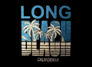 Image of Long Beach California PreCut HTV Glitter Design