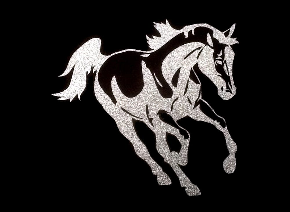 Image of Mustang PreCut HTV Glitter Design