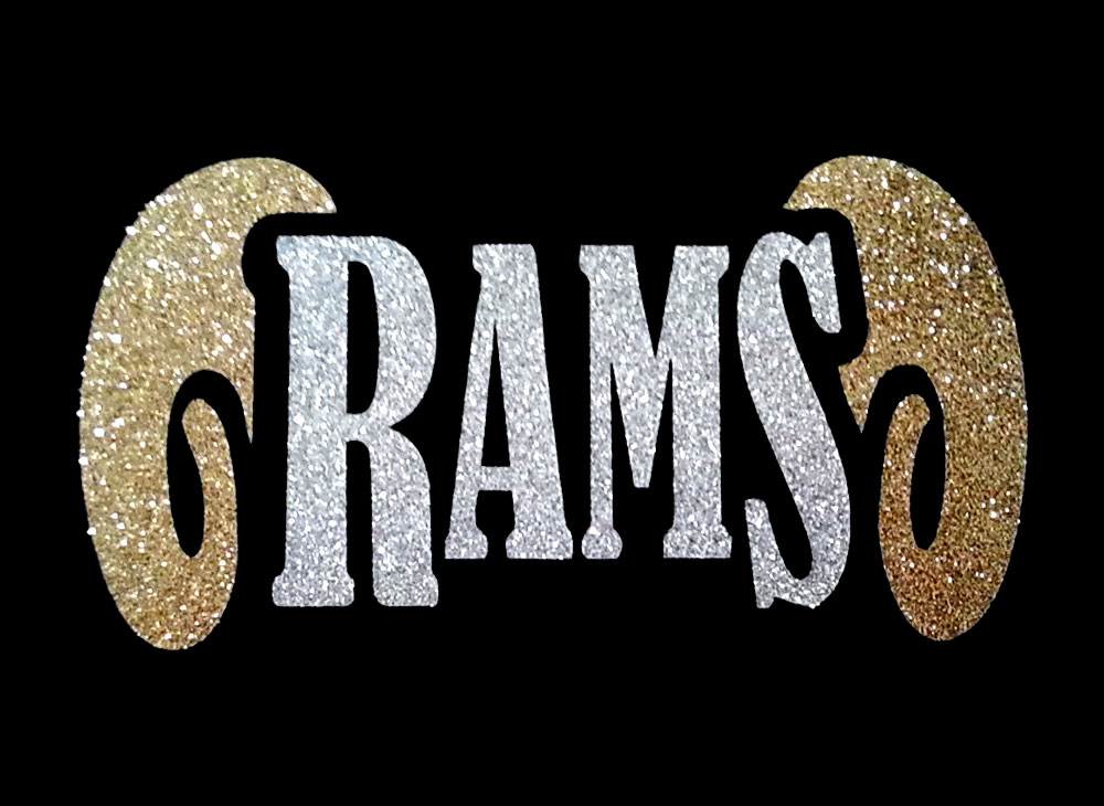 Image of Rams PreCut HTV Glitter Design