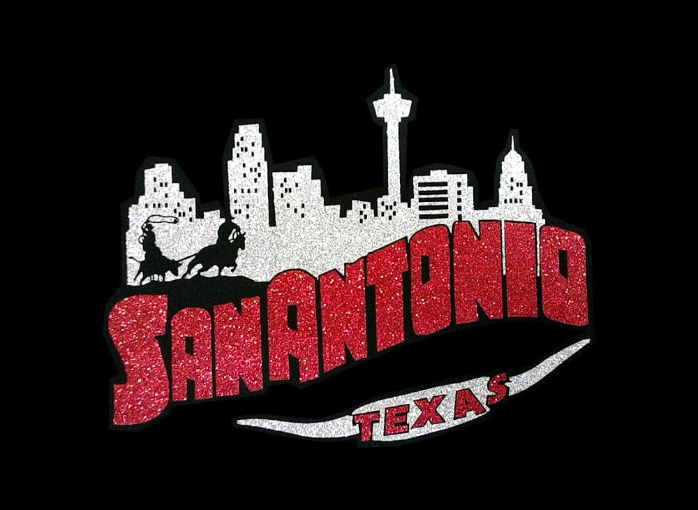 Image of San Antonio PreCut HTV Glitter Design
