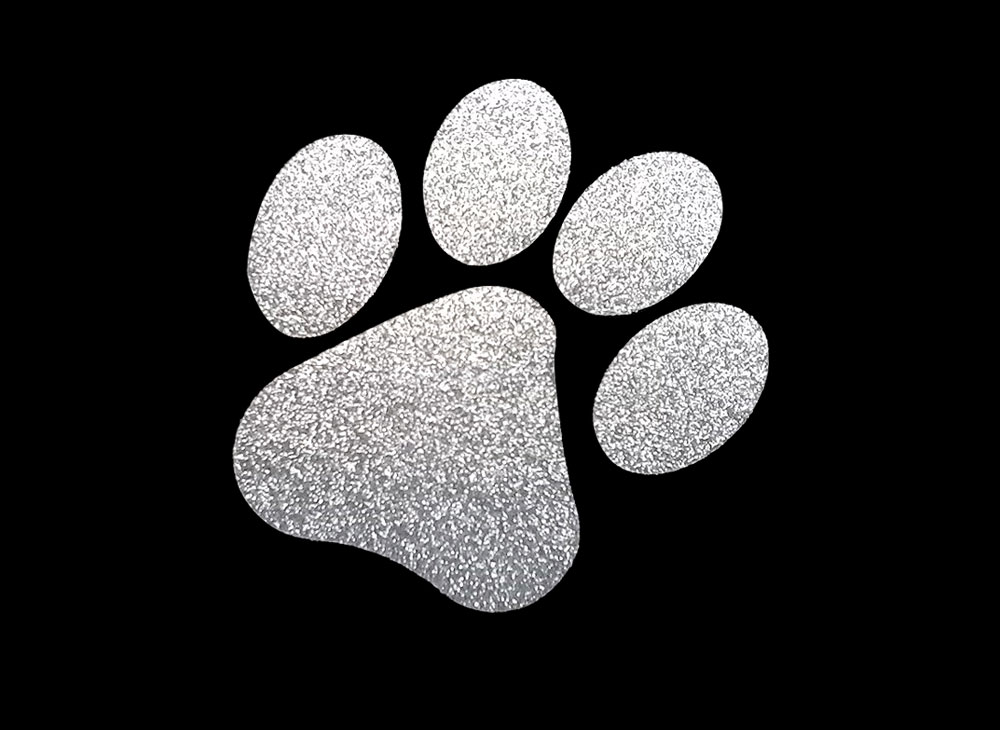 Image of Silver Paw HTV Glitter Design