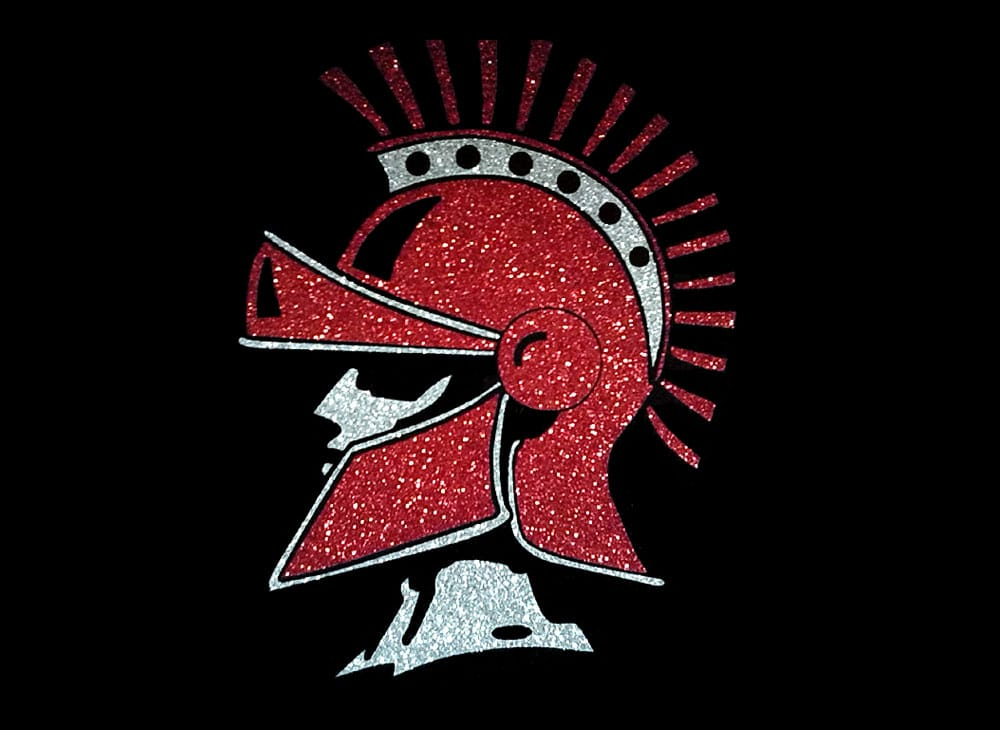 Image of Spartan Mascot PreCut HTV Glitter Design