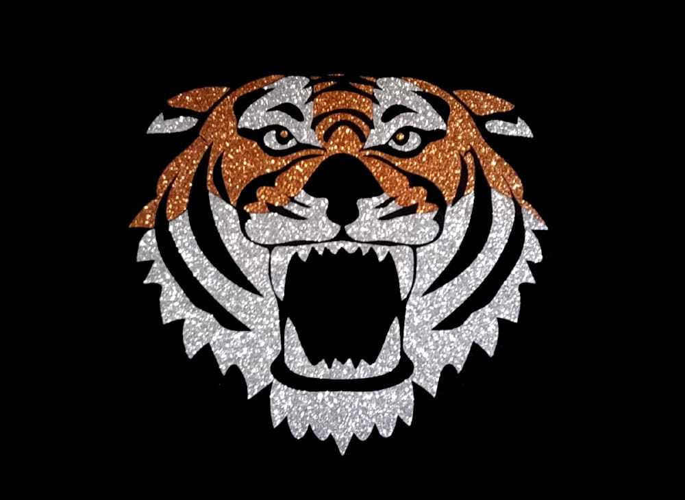 Image of Tiger PreCut HTV Glitter Design