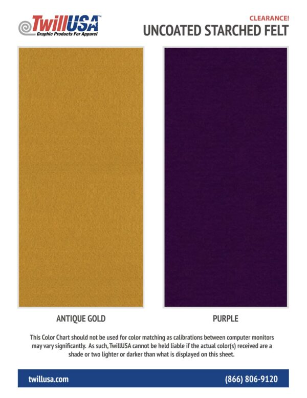 Image of Uncoated Starched Felt Color Chart